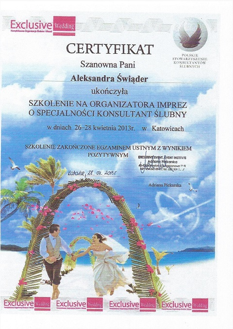 Certyfikat organizatora imprez